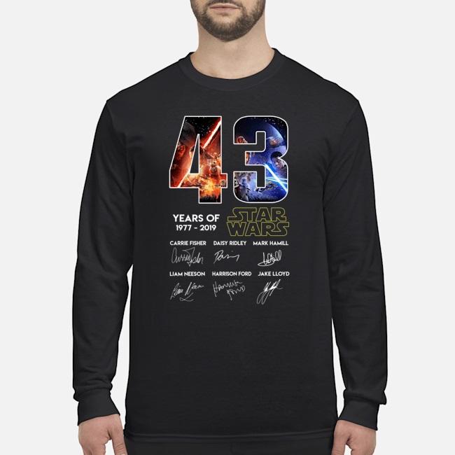 Hot 43 years of Star Wars 1977 2019 signatures shirt
