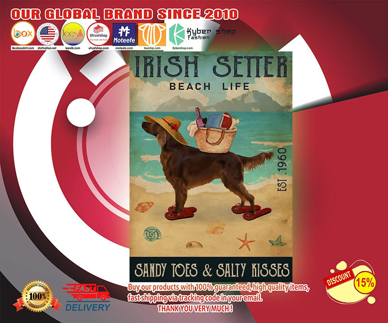 Irish setter beach life sandy toes and salty kisses poster