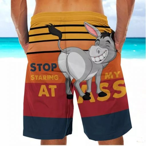 Stop Staring At My Ass Donkey Beach Shorts