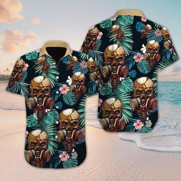 New ver Tropical skull floral hawaiian shirt