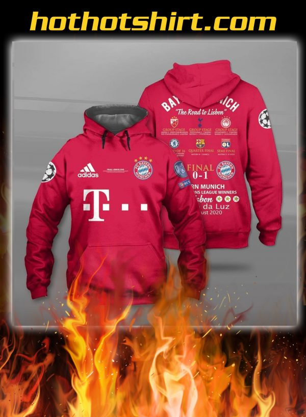 Bayern munich the road to lisbon all over printed 3d hoodie, shirt