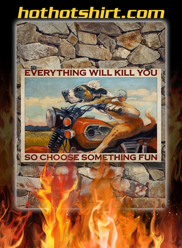 Motorcycle dog and cat everything will kill you so choose something fun poster