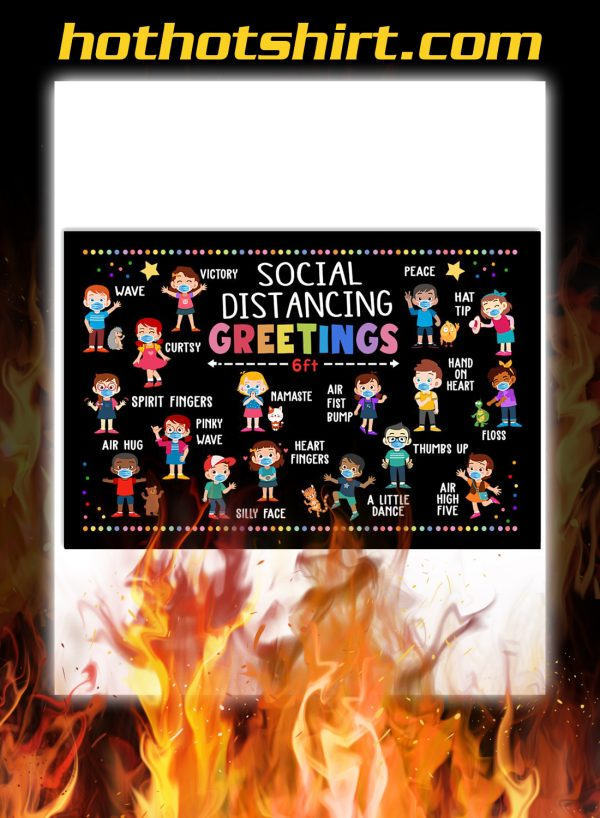 Classroom social distancing greetings 6ft poster