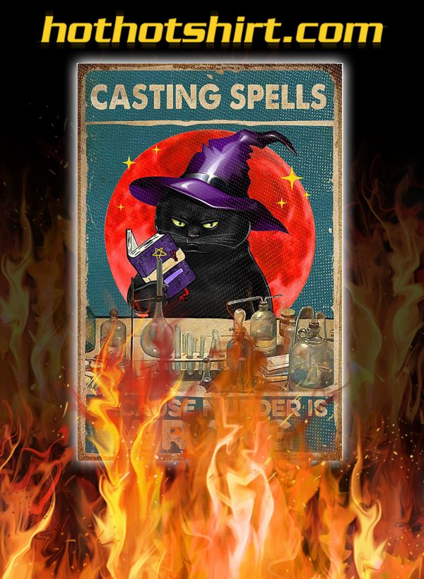 Witch cat casting spells because murder is wrong poster