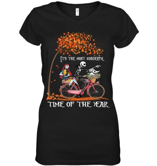 Jack Skellington and Sally It's the most wonderful time of the year bicycle shirt, tank top, hoodie
