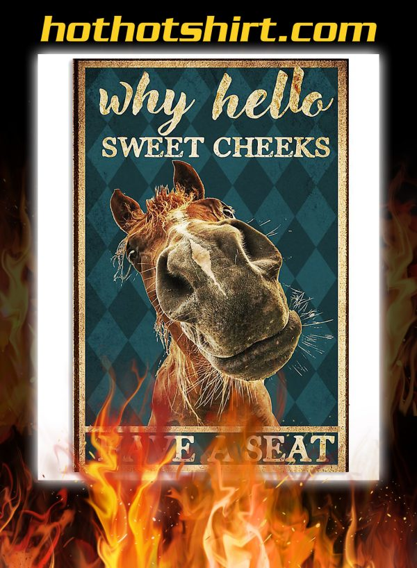 Horse why hello sweet cheeks poster