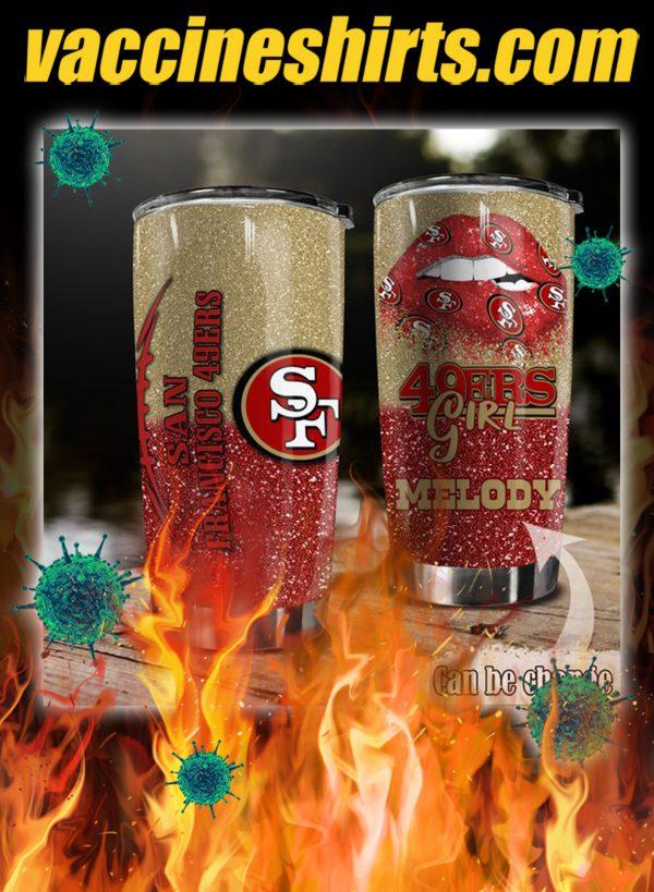 Personalized custom name san francisco 49ers glitter tumbler