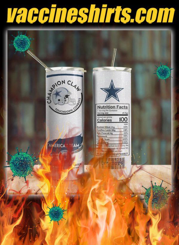 Dallas cowboys champion claw skinny tumbler