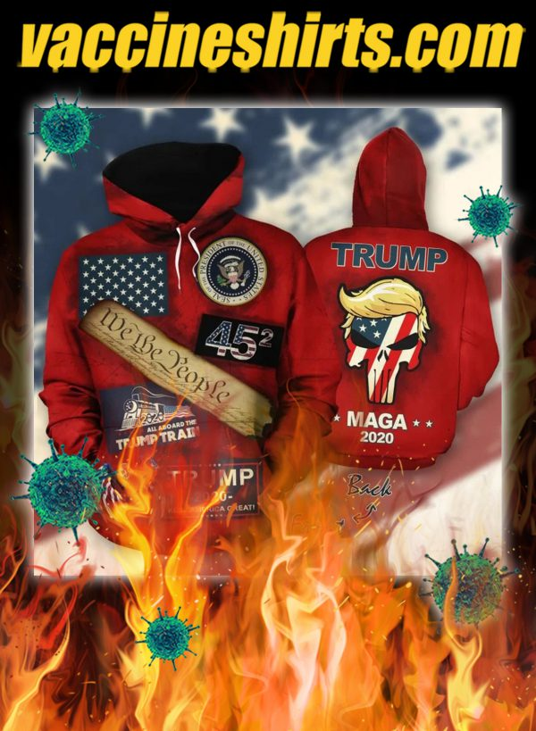 Trump mage we the people all aboard the trump train 3d all over hoodie