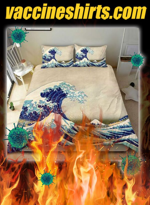Great wave off kanagawa japanese bedding set