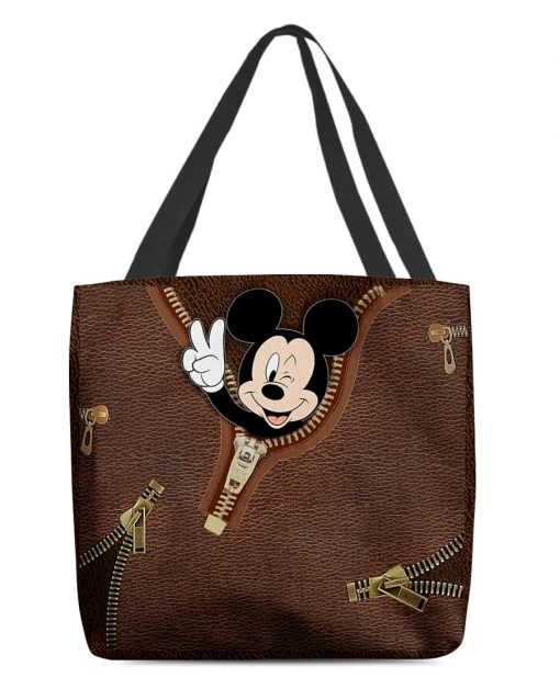 Mickey Mouse as Leather Zipper tote bag