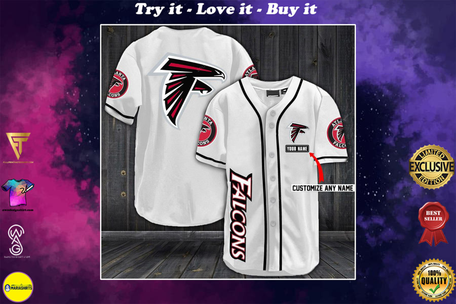 New ver personalized name atlanta falcons full printing baseball shirt