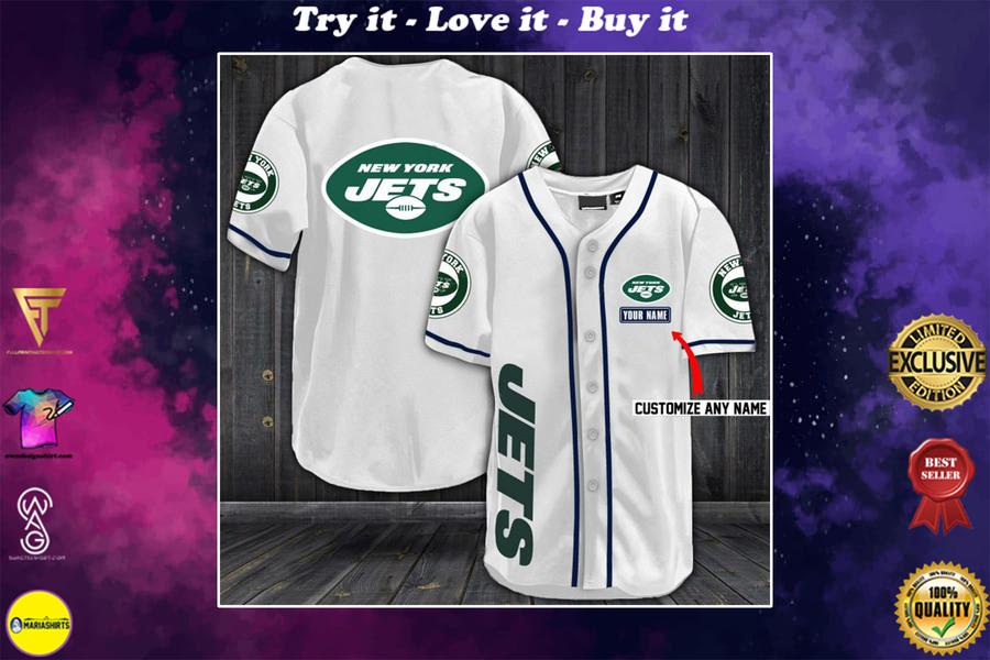 New ver personalized name new york jets full printing baseball shirt