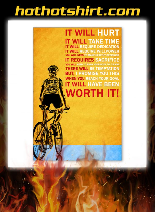 Bicycle it will hurt it will take time poster