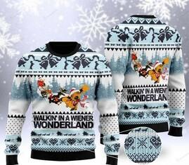Amazing dachshund walkin in a wiener wonderland christmas ugly sweater