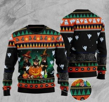 Amazing halloween rottweiler full printing christmas ugly sweater