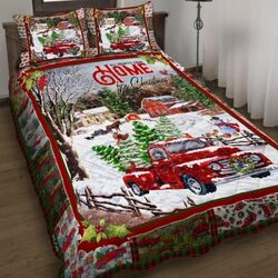 Amazing red truck all hearts come home for christmas all over print bedding set