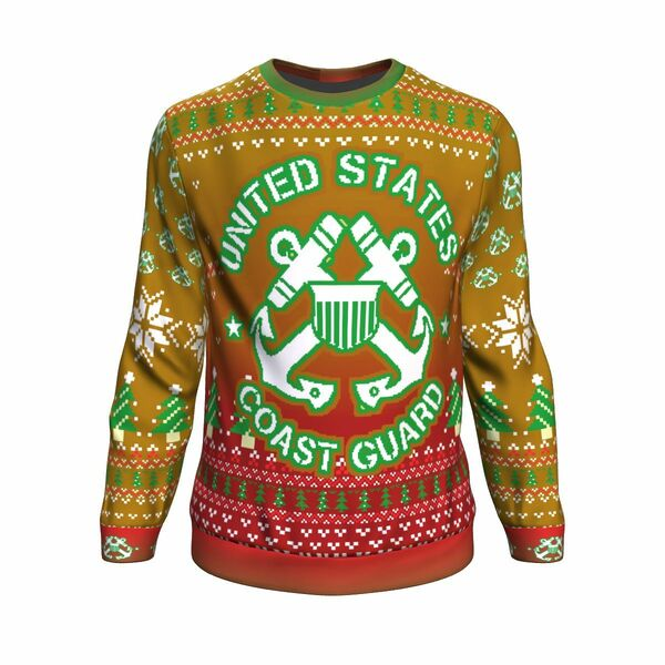 Amazing united states coast guard bright all over printed ugly christmas sweater
