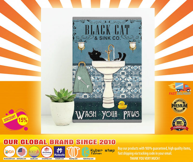 [LIMITED] Poster Black cat and sink co wash your paws