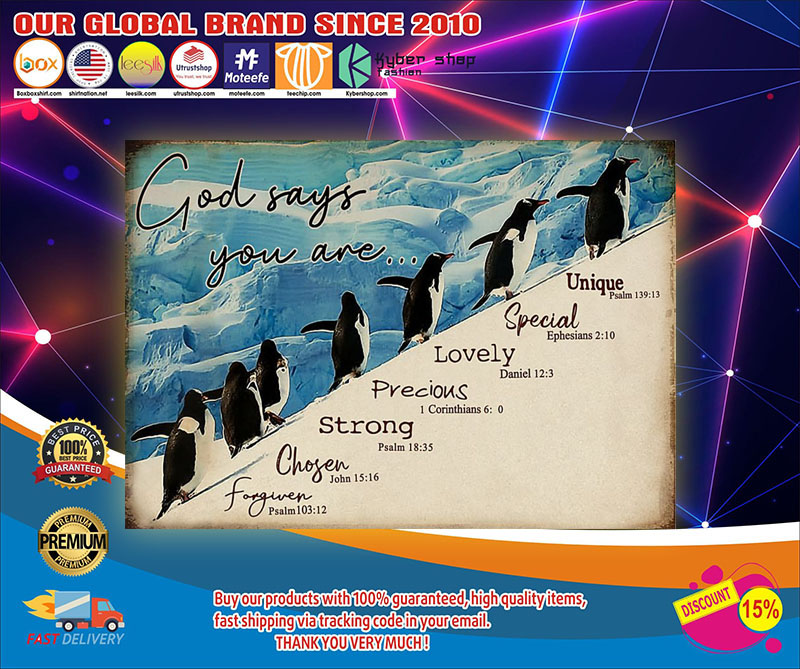 Penguins god says you are unique special poster1