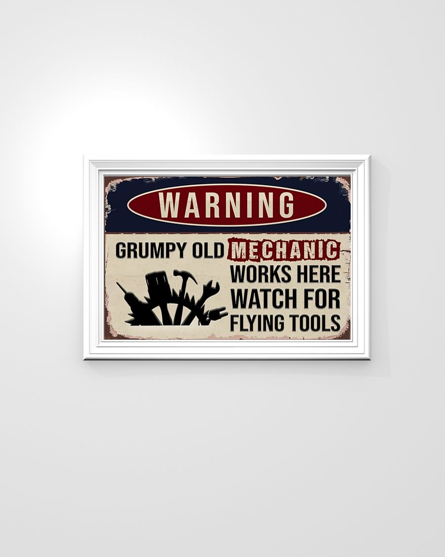 [LIMITED] Poster Auto mechanic warning grumpy old mechanic works here watch for flying tools