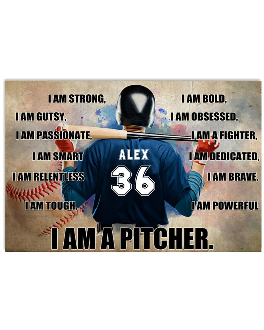 [LIMITED] Poster Baseball I am pitcher custom name and number