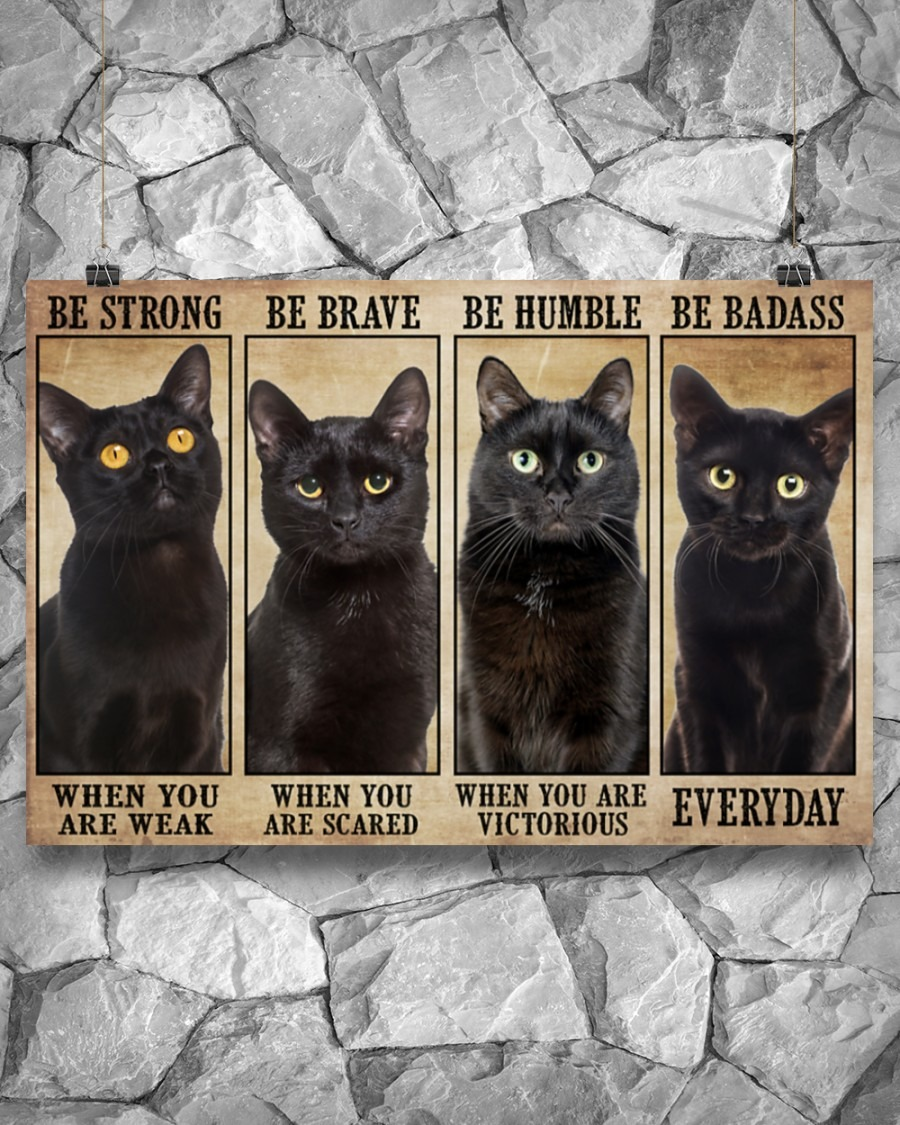 [LIMITED] Poster Black cat be strong be brave be humble be badass