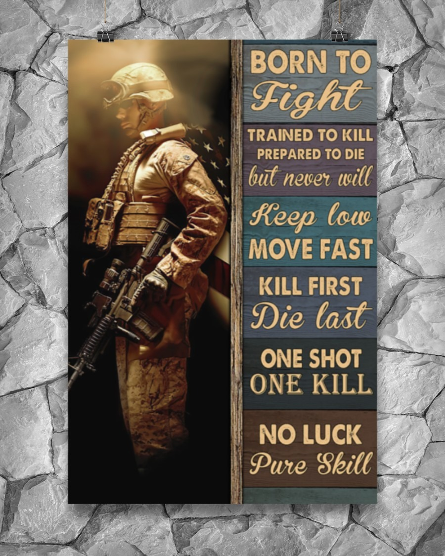 [LIMITED] Poster Veteran Born to fight trained to kill prepared to die