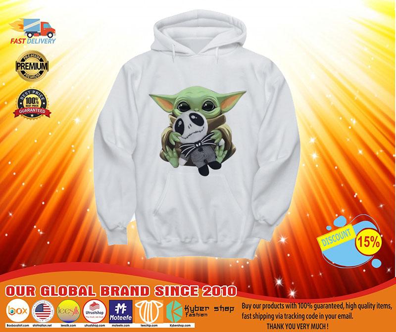 [LIMITED] Baby Yoda hug Jack Skellington shirt