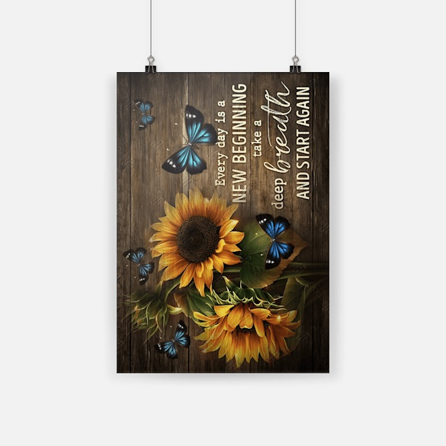 Canvas prints sunflowers butterflies everyday is a new beginning