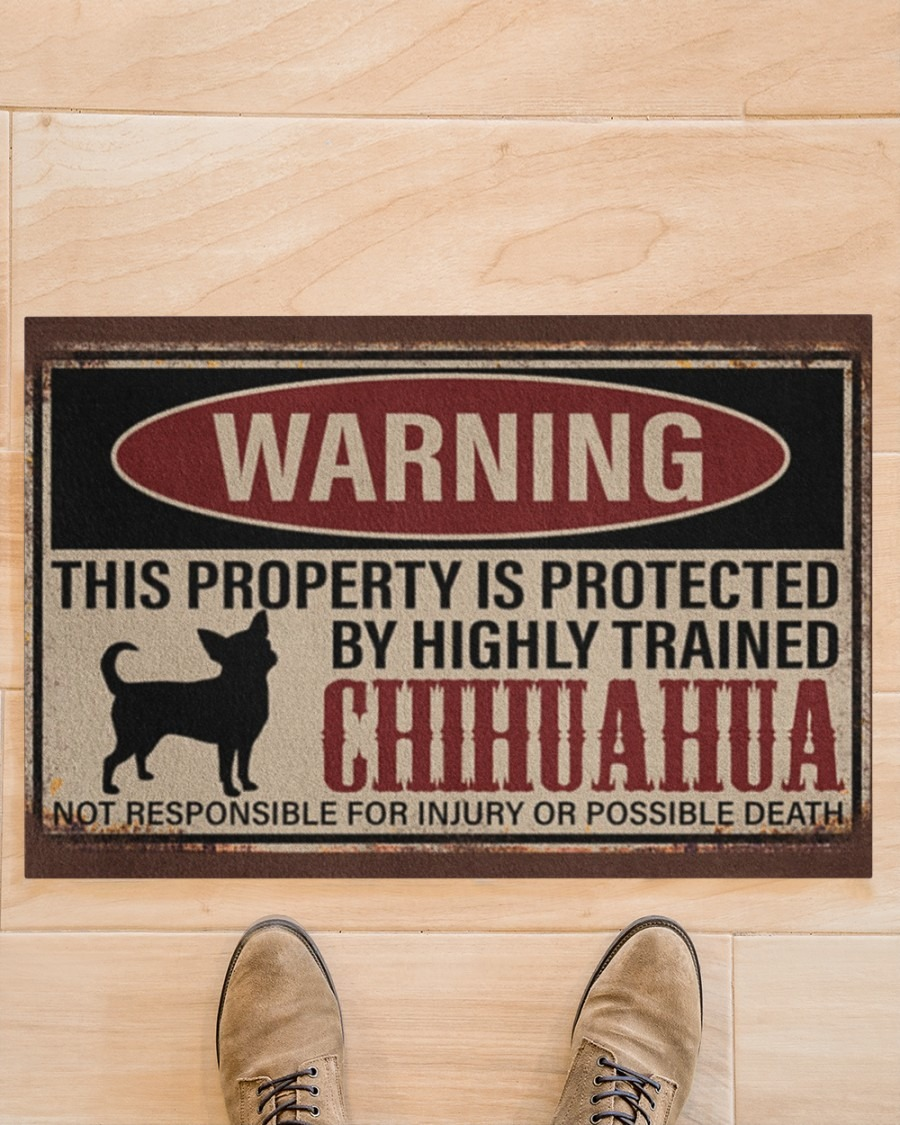 [LIMITED] Chihuahua warning this property is protected by hinghly trained chihuahua doormat