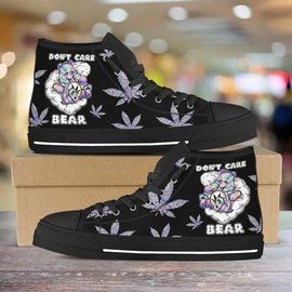 Amazing dont care bear weed all over printed high top canvas shoes