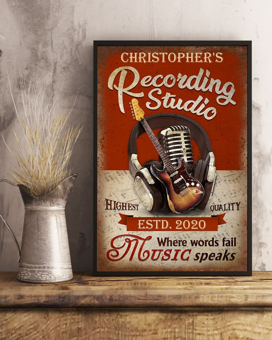 [LIMITED] Poster Guitar recording studio where words fail music speaks custom name