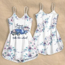 Amazing Jesus take the wheel flowers all over print rompers