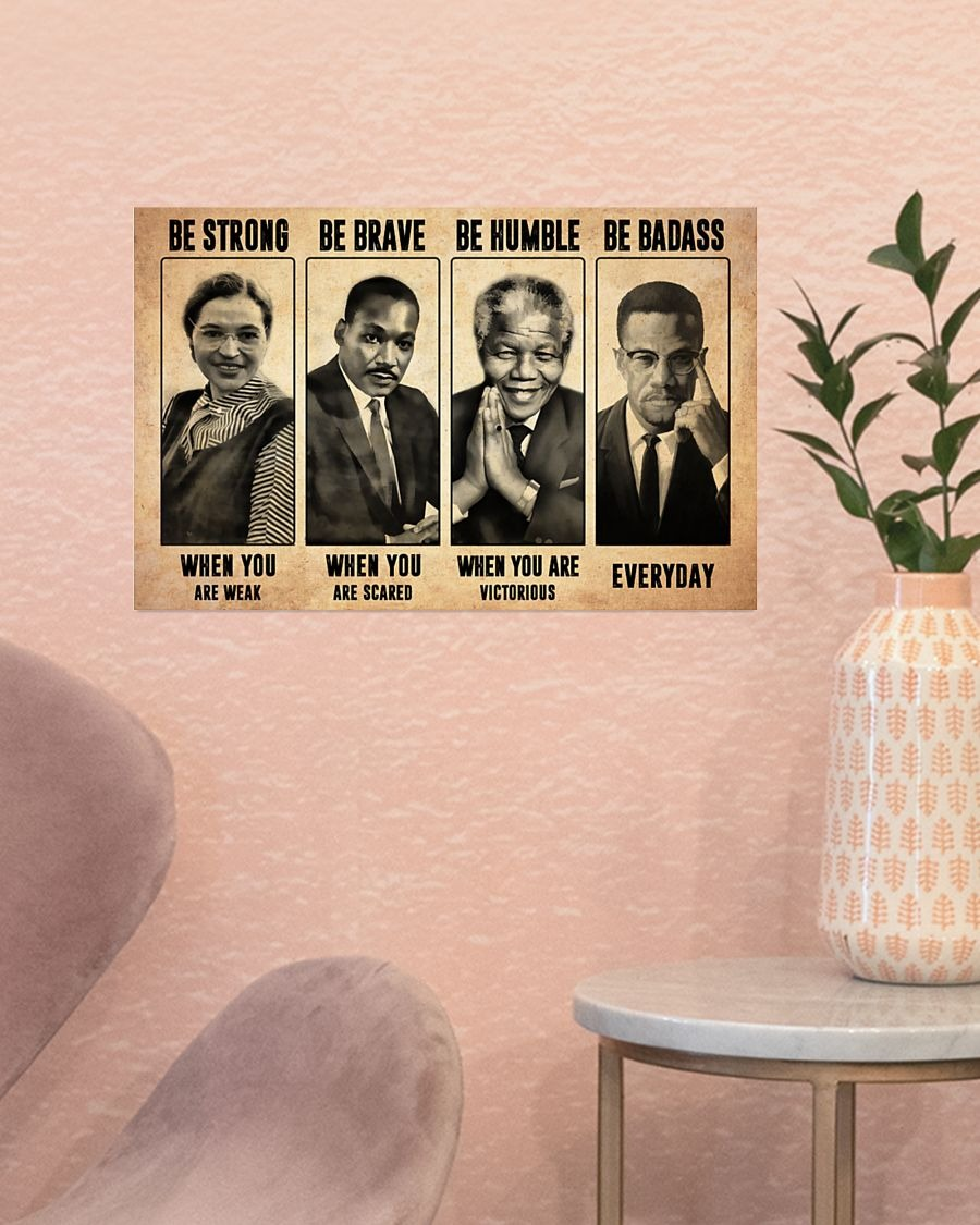 [LIMITED] Poster Luther King Mandela be strong be brave be humble