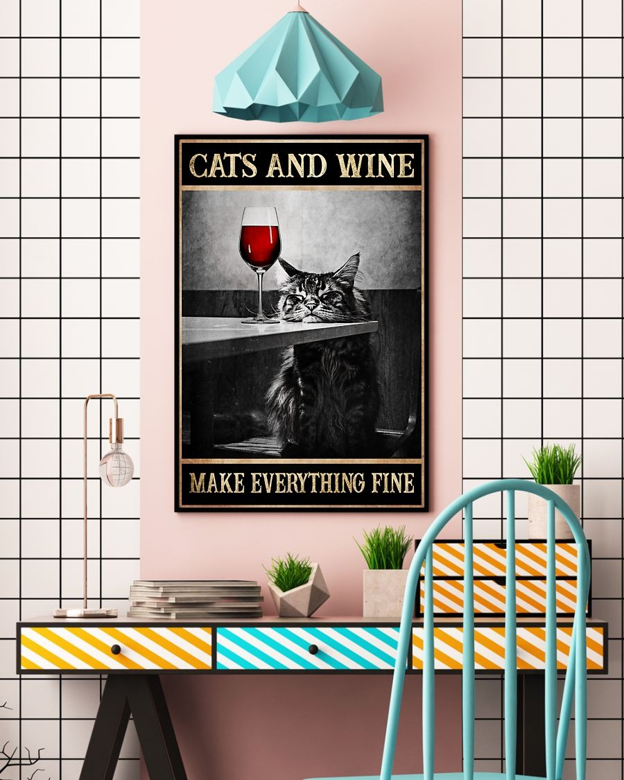 [LIMITED] Poster Cat and wine make everything fine