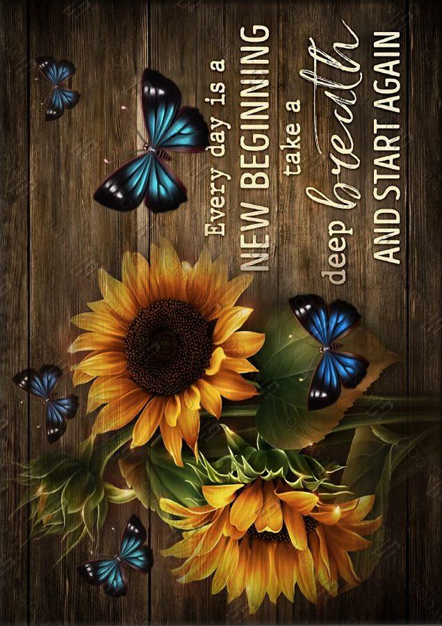 Sunflowers butterflies everyday is a new beginning canvas prints
