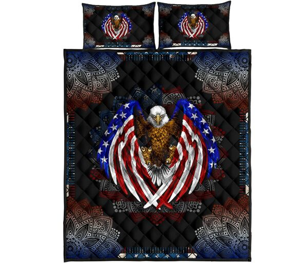 Amazing american flag eagle mandala version full over print quilt