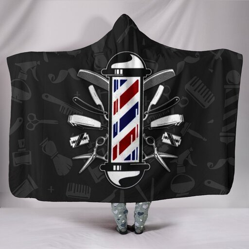 Amazing barber pole all over print hooded blanket
