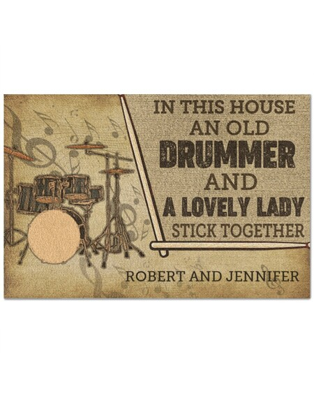 Amazing custom in this house an old drummer and a lovely lady all over print doormat