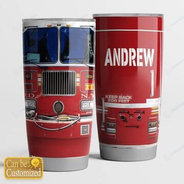 Amazing custom name fire truck head keep your back 200 feet all over print tumbler