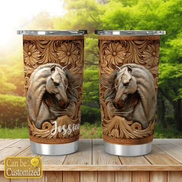 Amazing custom name love horse all over print tumbler