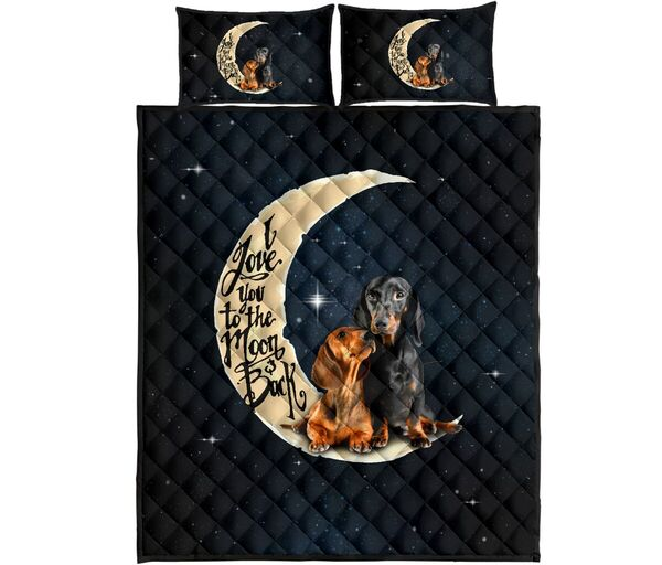 Amazing dog lover i love you to the moon and back full over print quilt