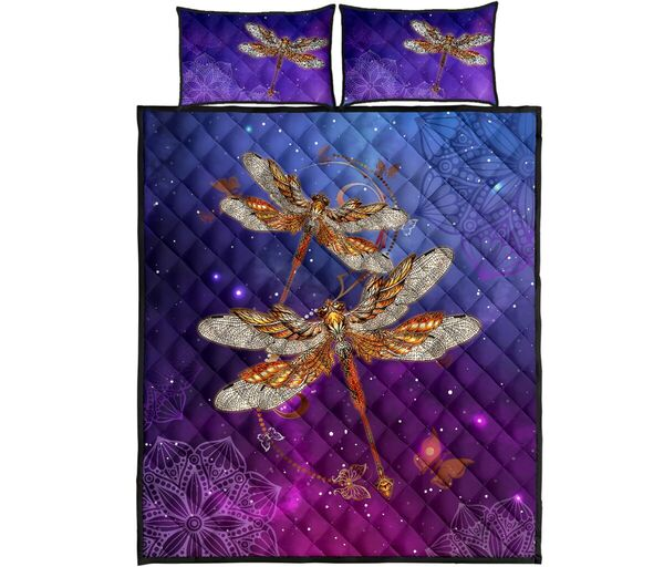 Amazing dragonfly in the night full over print quilt