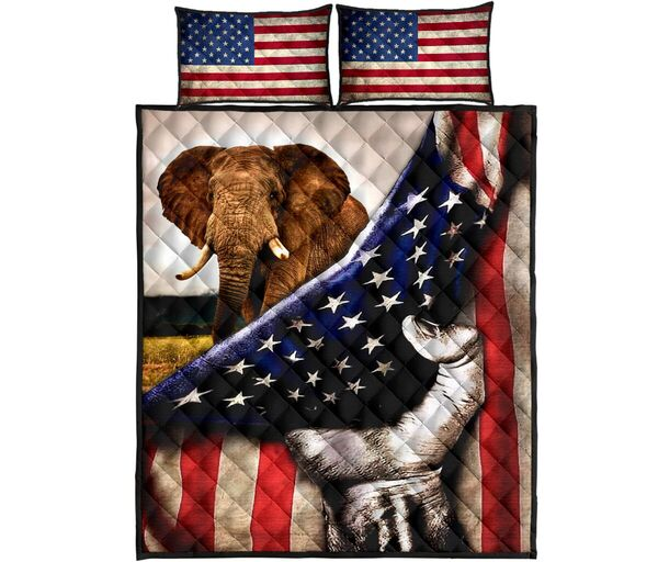 Amazing elephant in american flag all over print bedding set