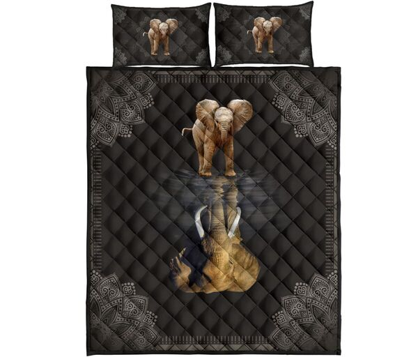 Amazing elephant water reflection full over print quilt