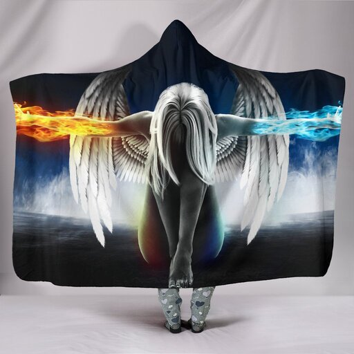 Amazing fire and water angel girl full printing hooded blanket