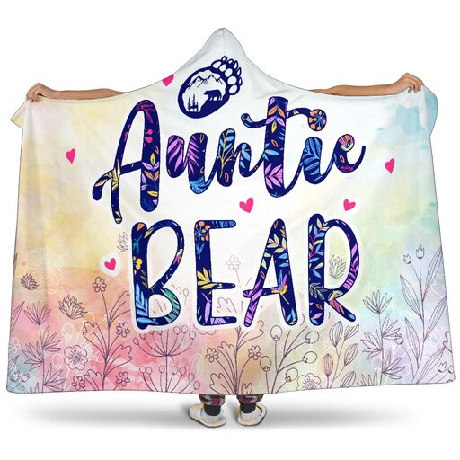 Amazing floral auntie bear all over print hooded blanket