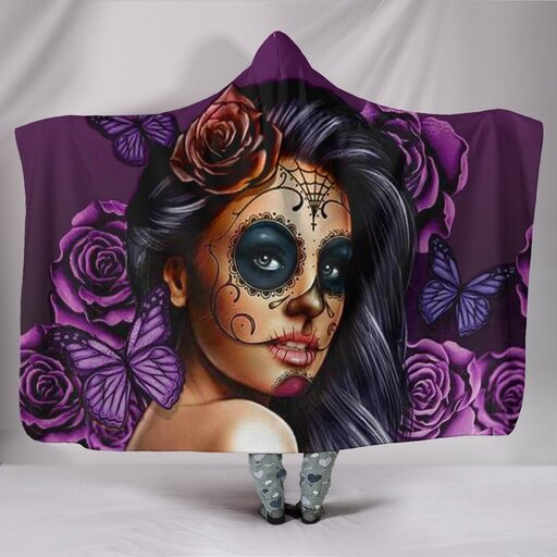 Amazing floral sugar skull girl all over print hooded blanket