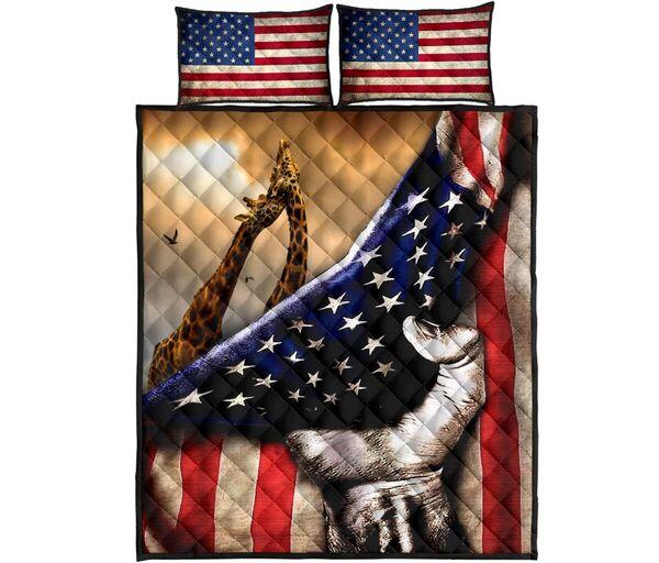 Amazing giraffe in american flag all over print bedding set
